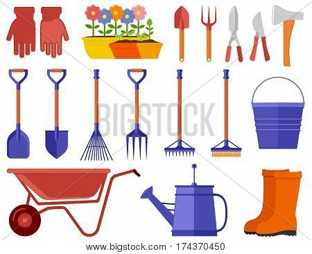 garden icons set. garden tools, equipment, planting process flat style
