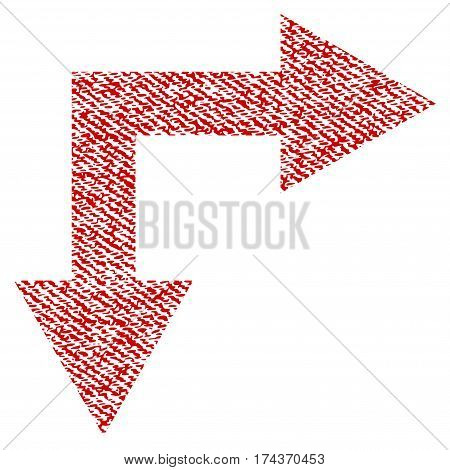 Bifurcation Arrow Right Down vector textured icon for overlay watermark stamps. Red fabric vectorized texture. Symbol with dust design. Red ink rubber seal stamp with fiber textile structure.