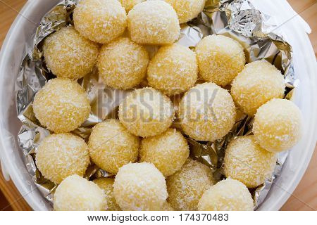 Home Made Raffaello Coconut Candy Balls In Ceramic Bowl