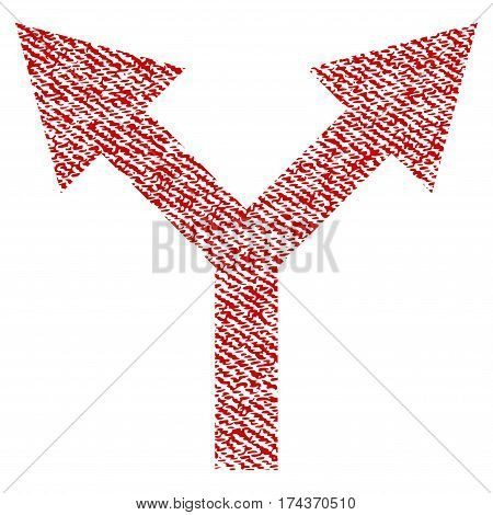 Bifurcation Arrow Up vector textured icon for overlay watermark stamps. Red fabric vectorized texture. Symbol with dirty design. Red ink rubber seal stamp with fiber textile structure.