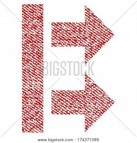 Bring Right vector textured icon for overlay watermark stamps. Red fabric vectorized texture. Symbol with unclean design. Red ink rubber seal stamp with fiber textile structure.