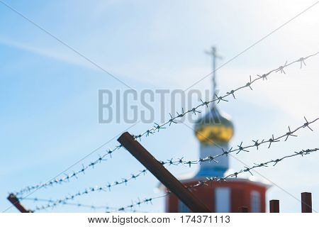 line barbed wire. focus with shallow depth of field. closeup