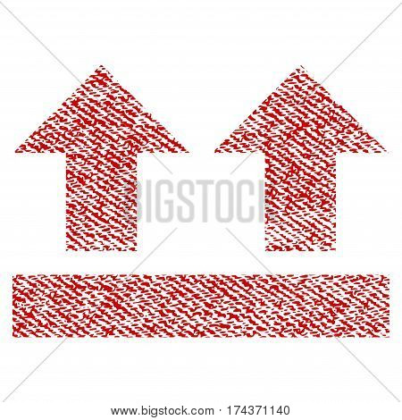 Bring Up vector textured icon for overlay watermark stamps. Red fabric vectorized texture. Symbol with unclean design. Red ink rubber seal stamp with fiber textile structure.