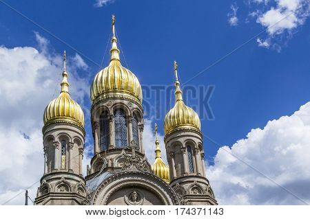Famous Russian Orthodox Church With Golden Copula