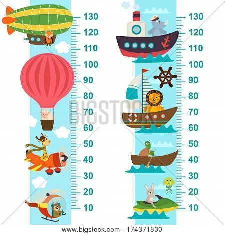 air and sea transport height measure  - vector illustration, eps