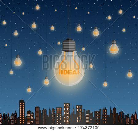 Surreal vector illustration as a lot light bulbs with idea text inside shine over the megapolis like million of stars. Alternative energy concept.