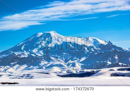 High Mount Elbrus, beautiful view of snow tops, winter landscape, mountains of the North Caucasus
