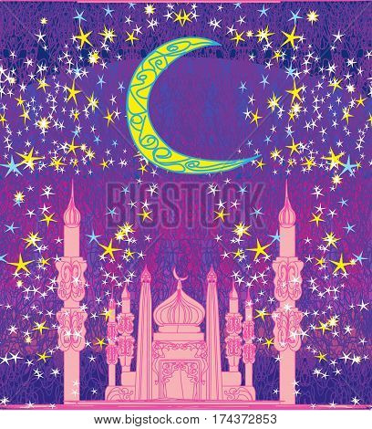 Ramadan background and mosque card  , vector illustration