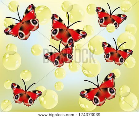 Beautiful bright red butterflies with bubbles floating in the background