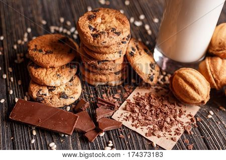 Homemade Chocolate Chip Cookies and cookies with sweet with glass of Milk