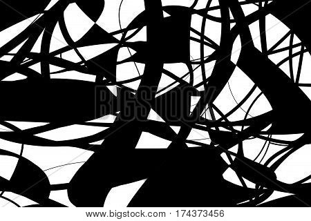 abstract, black and white stripes on the background scatter randomly, thick and thin