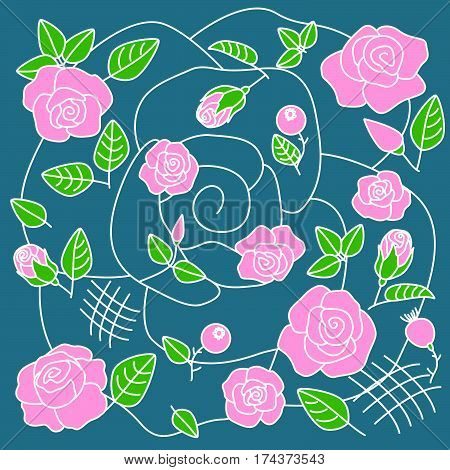 The decorative floral pattern on blue background