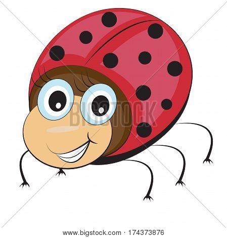 Funny ladybug in cartoon style eyes with cilia smiling on white background. Vector illustration