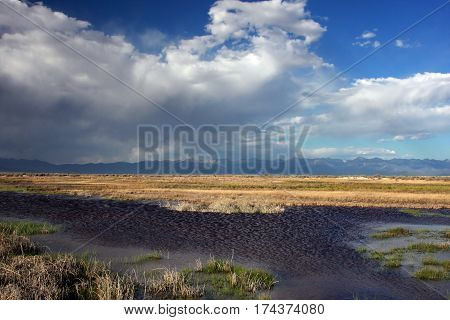 Springtime waters of the marshlands and wetlands in the San Luis Valley near Alamosa, Colorado.