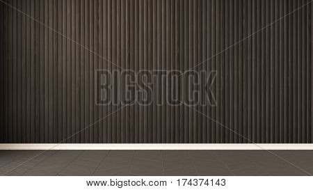 Empty Room With Herringbone Parquet And Wooden Wall, Background Interior Design