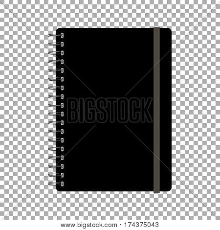 Black spiral notepad, notebook. Closed notebook vector