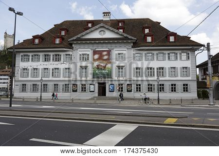 LUCERNE SWITZERLAND - MAY 04 2016: Museum of Natural History building is from 1976 that is a replica of orphanage by Jakob Singer originaly built about 200 meters far from present site in 1808/11