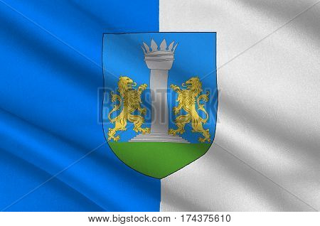 Flag of Ajaccio is a French commune prefecture of the department of Corse-du-Sud and capital city of Corsica. 3d illustration