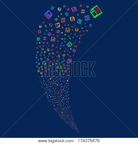 Floppy Disk random fireworks stream. Vector illustration style is flat bright multicolored iconic symbols on a blue background. Object fountain combined from scattered pictographs.