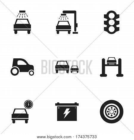Set Of 9 Editable Vehicle Icons. Includes Symbols Such As Car Lave, Stoplight, Vehicle Wash And More. Can Be Used For Web, Mobile, UI And Infographic Design.