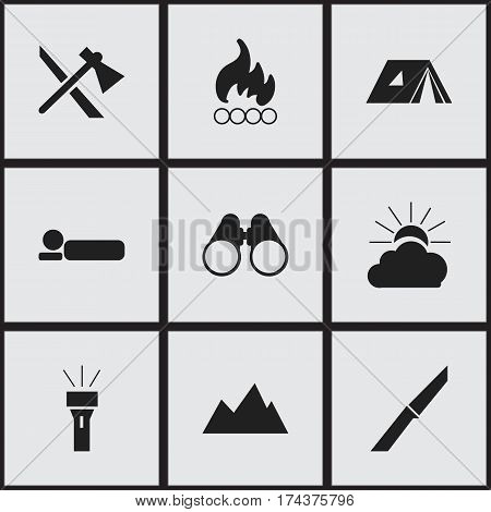 Set Of 9 Editable Trip Icons. Includes Symbols Such As Sunrise, Blaze, Bed roll And More. Can Be Used For Web, Mobile, UI And Infographic Design.