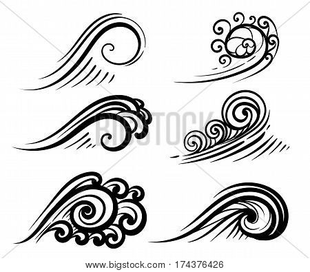 Wave Collection Ocean Or Sea Waves, Surf And Splashes Set Curling Water Design Elements Vector Illus
