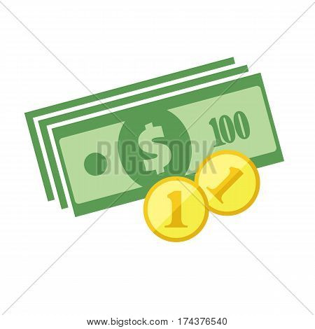 Us Dollar Banknotes Stack And Heap Of Golden Coins. Flat Vector Icon. American Currency Symbol. Usa
