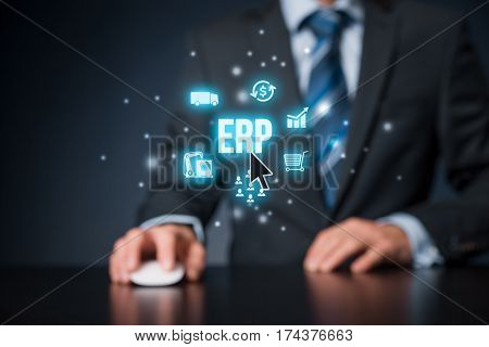 Enterprise resource planning ERP concept. Businessman click on ERP business management software button for collect, store, manage and interpret business data about customers, HR, production, logistics, financials and marketing.