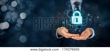 Security services, cybersecurity and protection concept. Login, sign in concepts. Businessman offer padlock symbol of security.