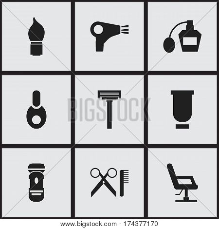 Set Of 9 Editable Barber Icons. Includes Symbols Such As Shaving, Desiccator, Elbow Chair And More. Can Be Used For Web, Mobile, UI And Infographic Design.