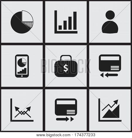 Set Of 9 Editable Analytics Icons. Includes Symbols Such As Money Bag, User, Statistic And More. Can Be Used For Web, Mobile, UI And Infographic Design.