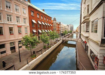 AARHUS DENMARK JUNE 13: Aarhus river in center of the city Aarhus Denmark in 2012