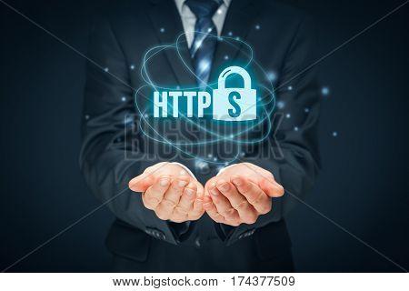 HTTPS - secured internet concept. Businessman or programmer offer https technology for www.