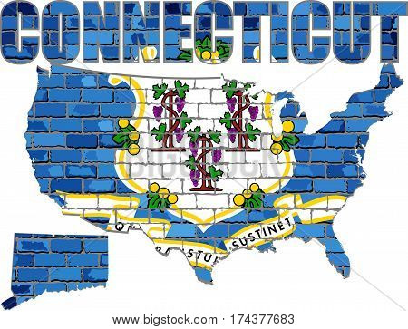 Connecticut on a brick wall - Illustration,,  Connecticut map