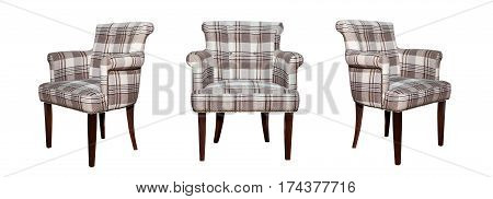 Modern textile chair in black and white chess pattern isolated. View from different sides - front and two side views