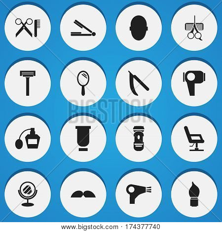 Set Of 16 Editable Tonsorial Artist Icons. Includes Symbols Such As Brains, Reflector, Hair Drier And More. Can Be Used For Web, Mobile, UI And Infographic Design.