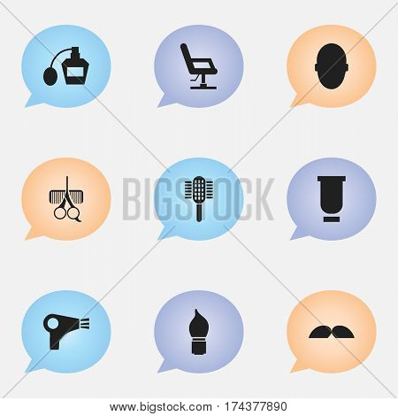 Set Of 9 Editable Coiffeur Icons. Includes Symbols Such As Container, Elbow Chair, Scent And More. Can Be Used For Web, Mobile, UI And Infographic Design.