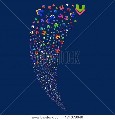 Home random fireworks stream. Vector illustration style is flat bright multicolored iconic symbols on a blue background. Object fountain organized from scattered design elements.