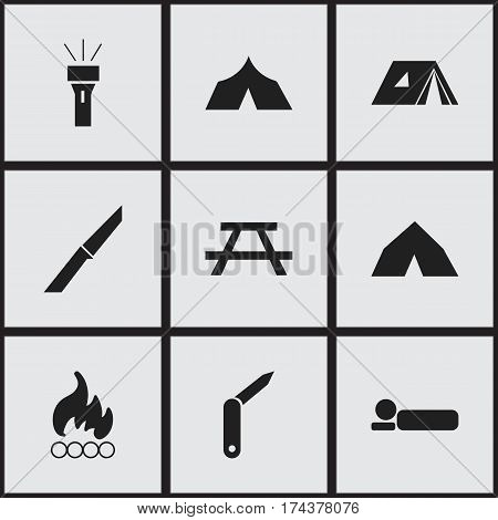 Set Of 9 Editable Travel Icons. Includes Symbols Such As Refuge, Blaze, Clasp-Knife And More. Can Be Used For Web, Mobile, UI And Infographic Design.