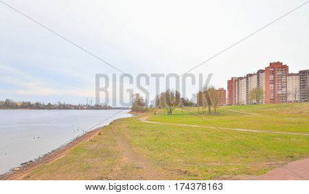 Park on the coast of the Neva River on the outskirts of St. Petersburg Russia.