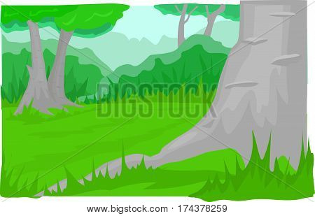 Green glade, hills, bushes, freestanding thick trees, mountains.