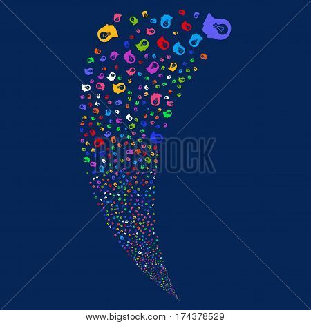 Intellect Bulb random fireworks stream. Vector illustration style is flat bright multicolored iconic symbols on a blue background. Object fountain made from scattered icons.