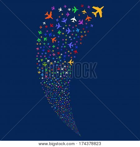 Jet Plane random fireworks stream. Vector illustration style is flat bright multicolored iconic symbols on a blue background. Object fountain made from scattered design elements.