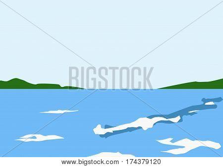 blue sea, green island, white foamy waves