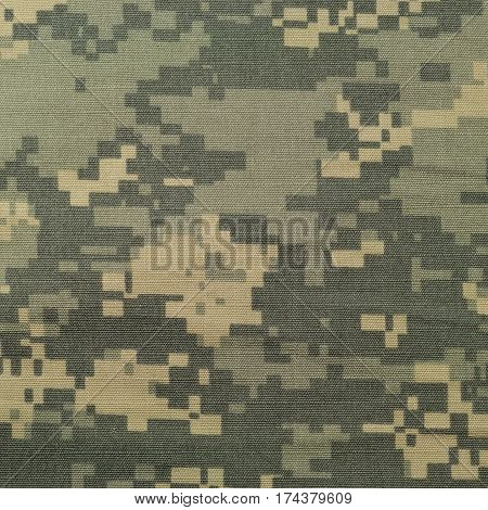 Universal camouflage pattern army combat uniform digital camo USA military ACU macro closeup detailed large rip-stop fabric texture background crumpled wrinkled foliage green yellow desert sand tan urban gray grey NYCO nylon cotton horizontal textured swa