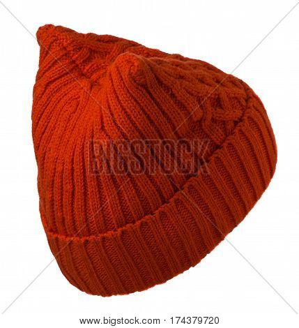 Women's Hat . Knitted Hat Isolated On White Background.foxy Hat