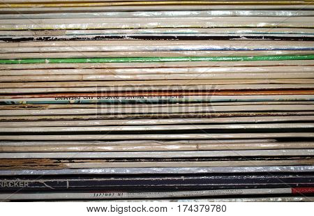 This is a detailed view of Records, record covers, disk collection