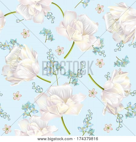 Vector spring flower seamless pattern with tulips on blue background. Elegant tender design for natural cosmetics, perfume, florist shop. Can be used as greeting or wedding background.Best for fabric