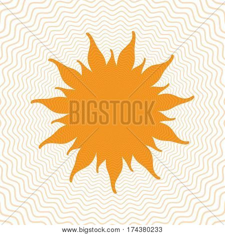 Orange abstract sun shape with energy waves isolated on white background
