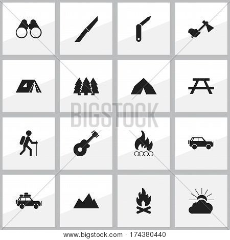Set Of 16 Editable Trip Icons. Includes Symbols Such As Musical Instrument, Pine, Tepee And More. Can Be Used For Web, Mobile, UI And Infographic Design.